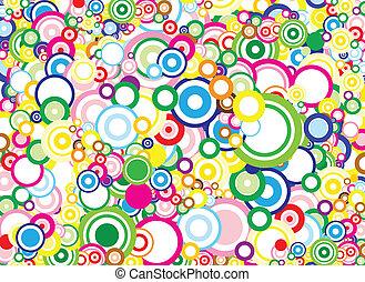círculos, plano de fondo, vívido