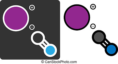 círculos, plano, mostrar, púrpura, (potassium, -, potasio, blue)., color-coded, átomos, (kcn), gris, veneno, nitrógeno, cyanide, carbón, style., icono