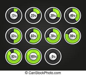 círculos, progresso, indicador, jogo