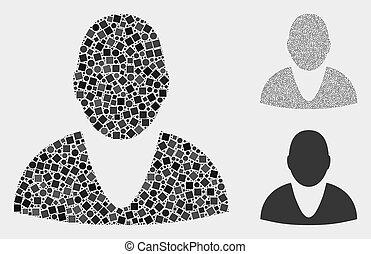 círculos, quadrados, mosaicos, usuário, ícone