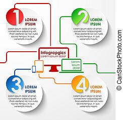 círculos, resumen, papel, infographics