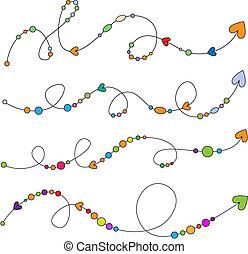 círculos, setas, flores coloridas