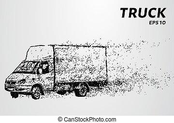 círculos, silueta, illustration., particles., vetorial, caminhão, points., consiste