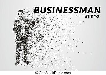 círculos, silueta, ilustração, particles., vetorial, points., consiste, homem negócios