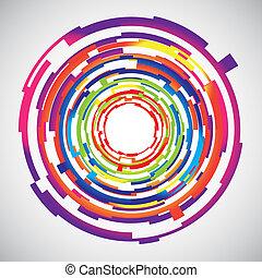 círculos, tecnologia, abstratos, colorido, fundo