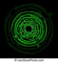 círculos, tecnologia, abstratos, experiência verde