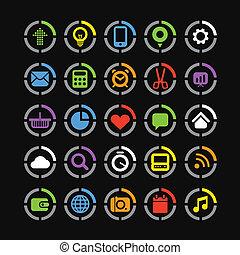 círculos, tela, colección, color, iconos