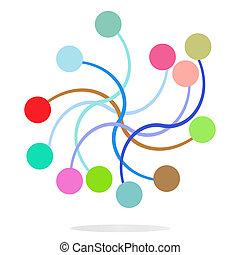 círculos, tela, concepto, tecnología, plano,  Color, Extracto, comunicación, empresa / negocio, ecología, líneas, medios, Plano de fondo,  social, red, diseño
