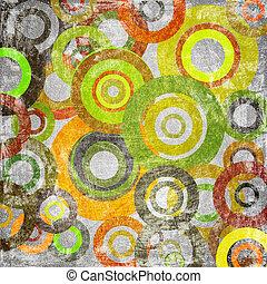 círculos, tela, ilustración, sucio