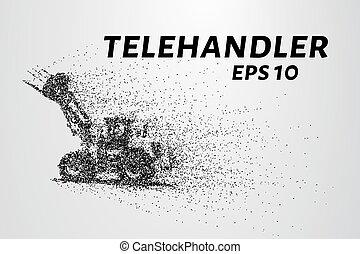 círculos, telescópico, particles., ilustração, carregador, vetorial, points., consiste, telehandler