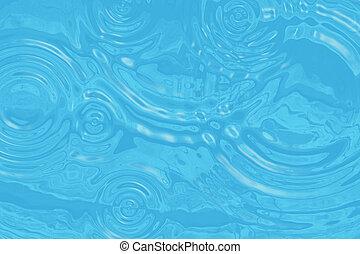 círculos, turquesa, superfície, água, ondulado, gotas