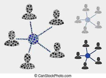 círculos, usuários, relações, colagens, quadrados, ícone