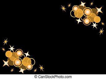 círculos, y, estrellas, en, negro
