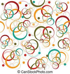círculos, y, puntos, retro, patrón