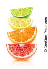 cítrico, cunhas, isolado, frutas
