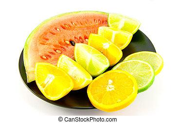 cítrico, cunhas, melancia, fatias