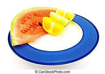 cítrico, cunhas, melancia