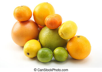 cítrico, diferente, fundo branco, frutas