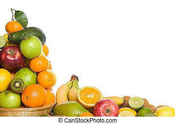 cítrico, e, fruta tropical, branco, fundo