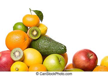 cítrico, e, outro, fruta, isolado, branco