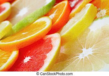 cítrico, fundo, frutas