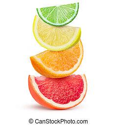cítrico, isolado, experiência., frutas, cunhas, branca