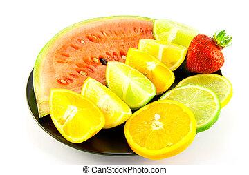 cítrico, moranguinho, melancia, cunhas, fatias