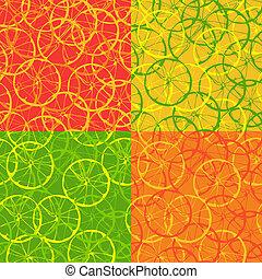 cítrico, padrão, fruta, seamless