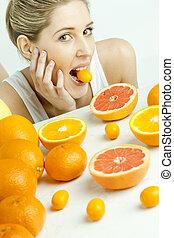 cítrico, retrato, mulher, jovem, fruta