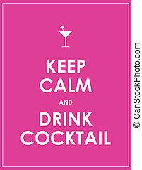 cóctel, bebida, retener, vector, calma, plano de fondo