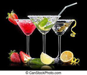 cóctel, conjunto, frutas del verano, alcohol