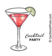 cóctel, mano, vidrio, dibujado, martini, cal