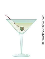 cóctel, martini, con, aceituna