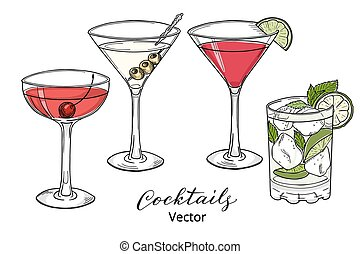 cócteles, alcohólico, mano, dibujado, conjunto