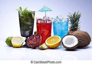 cócteles, alcohol, bebidas, conjunto