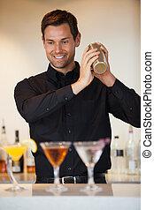 cócteles, barman, sacudida, feliz