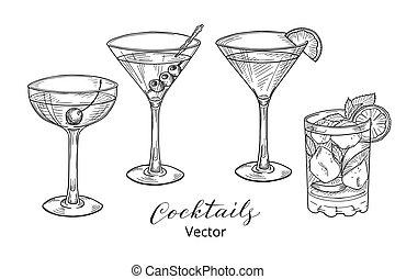 cócteles, dibujado, conjunto, mano, alcohólico