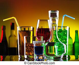 cócteles, diferente, barra,  Alcohol, bebidas