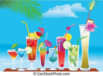 cócteles, en la playa, en, cielo, plano de fondo