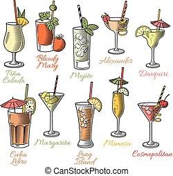 cócteles, famoso, ilustraciones