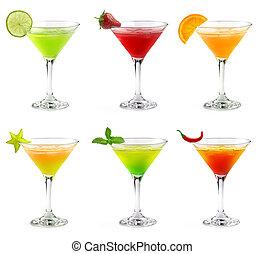 cócteles, martini, colorido