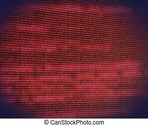código binário, abstratos, digital, tela, vermelho
