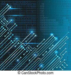 código binário, circuito eletrônico