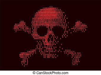 código binário, crossbones, cranio, digital