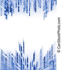 código binário, dados, exposição, fluir