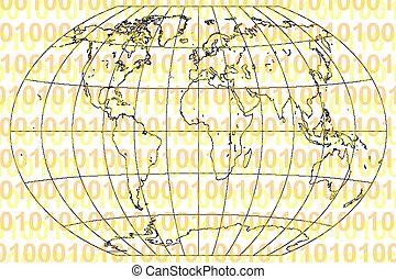 código binário, e, mundo