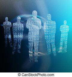 código binário, escrito, ligado, formas, de, corpo humano