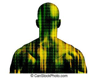 código binario, aislado, correr, cubrir, piel, blanco