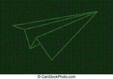 código binario, cohete, líneas, avión, pliegue, encendido, papel