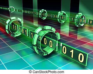 código binario, corrientes